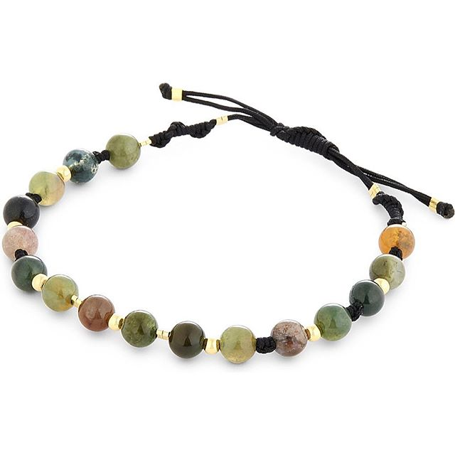 Black Dakini multi colored moss agate jade w/18K gold vermeil beads and braiding now exclusively at @theofficialselfridges London #selfridges #blackdakini #18kgold #mensbracelet #mossagate #bdjewelry
