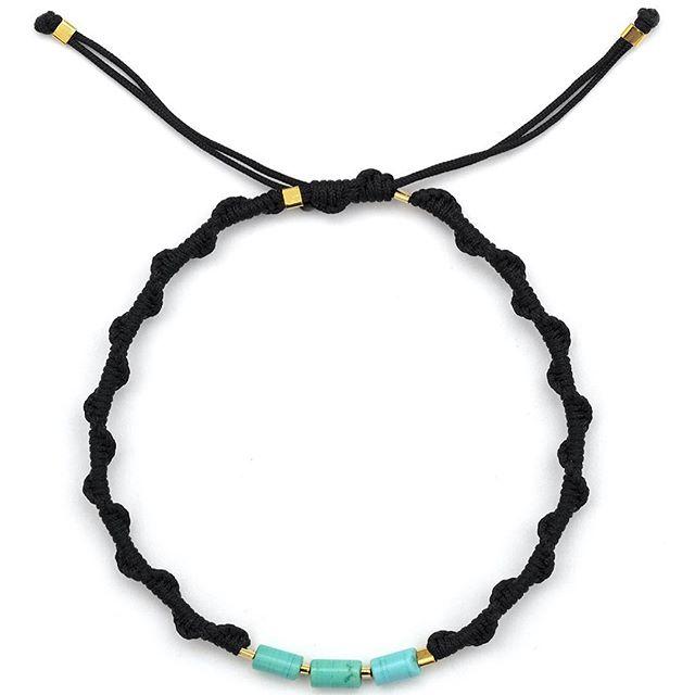 Trio of antique turquoise beads 18k gold vermeil in BD signature braiding online @storm_copenhagen #stormfashion #stormcopenhagen #blackdakini #braidedbracelet