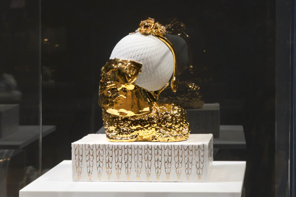 The Golden Idol, 2012. Glazed Meissen porcelain, gold. 14.15 x 12 x 8.5 inches.