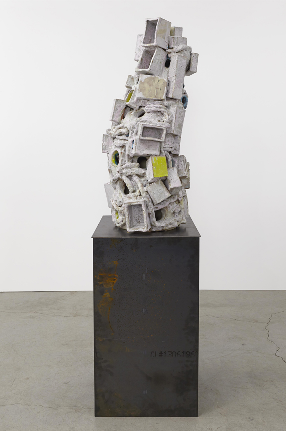 Stories, 2013. Glazed ceramic, steel. 71.75 x 20 x 18 inches.