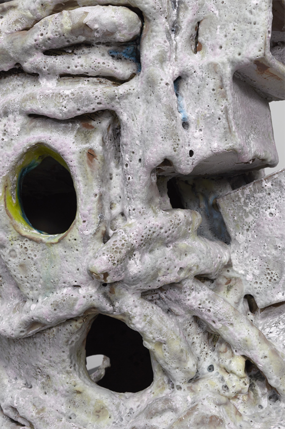 detail, Stories, 2013. Glazed ceramic, steel. 71.75 x 20 x 18 inches.