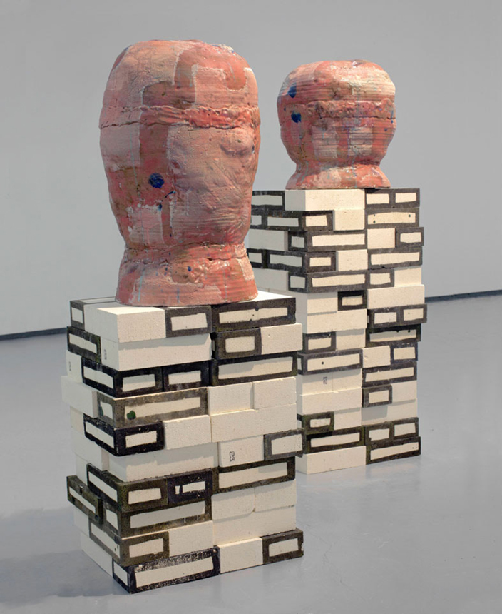 So and So and So and So and On and On , 2010. glazed ceramic, glazed kiln bricks. 51.5 x 43.5 x 33 in.