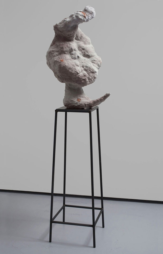 Unheard Of , 2009-2010. glazed ceramic, steel. 19 x 16.25 x 74 in.
