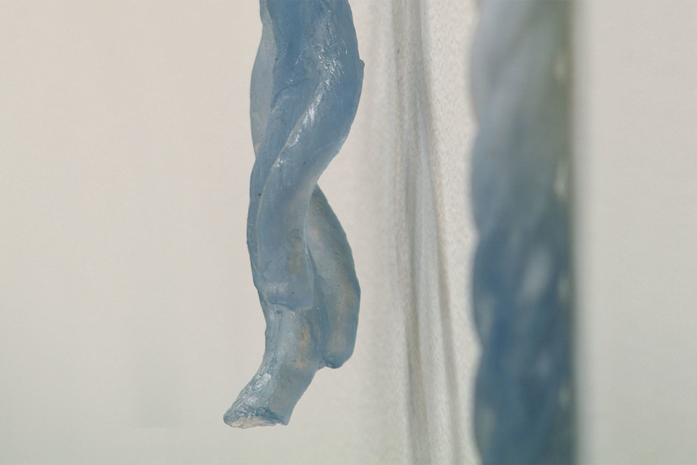 detail, Cast pigmented crystal,  Out of the Blue , solo exhibition at Shoshana Wayne Gallery, CA, 2004.