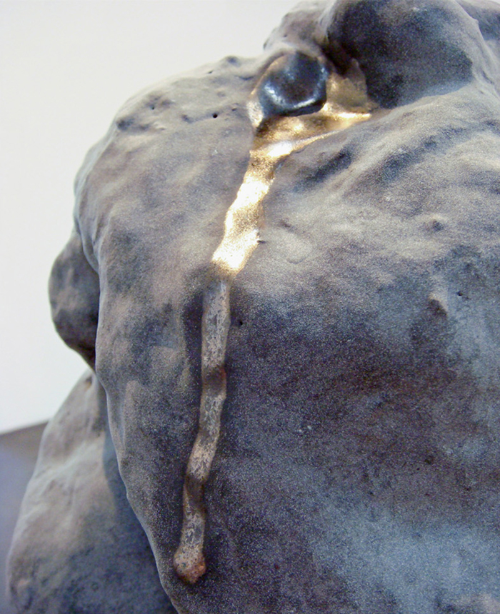 detail,  Everything Seems to Be Something Else  , 2007-2008. g  lazed ceramic, cast concrete, steel. 69 x 24 x 24 in  .