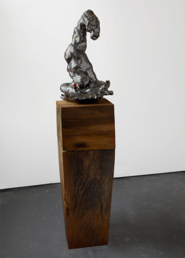 Loll, 2006-2007. glazed ceramic, hardwood. 64 x 14 x 14 in.
