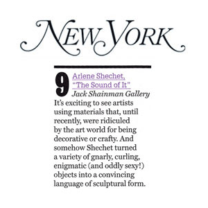 Shechet turned a variety of gnarly, curling, enigmatic (and oddly sexy!) objects into a convincing language of sculptural form. - Jerry Saltz Full Article