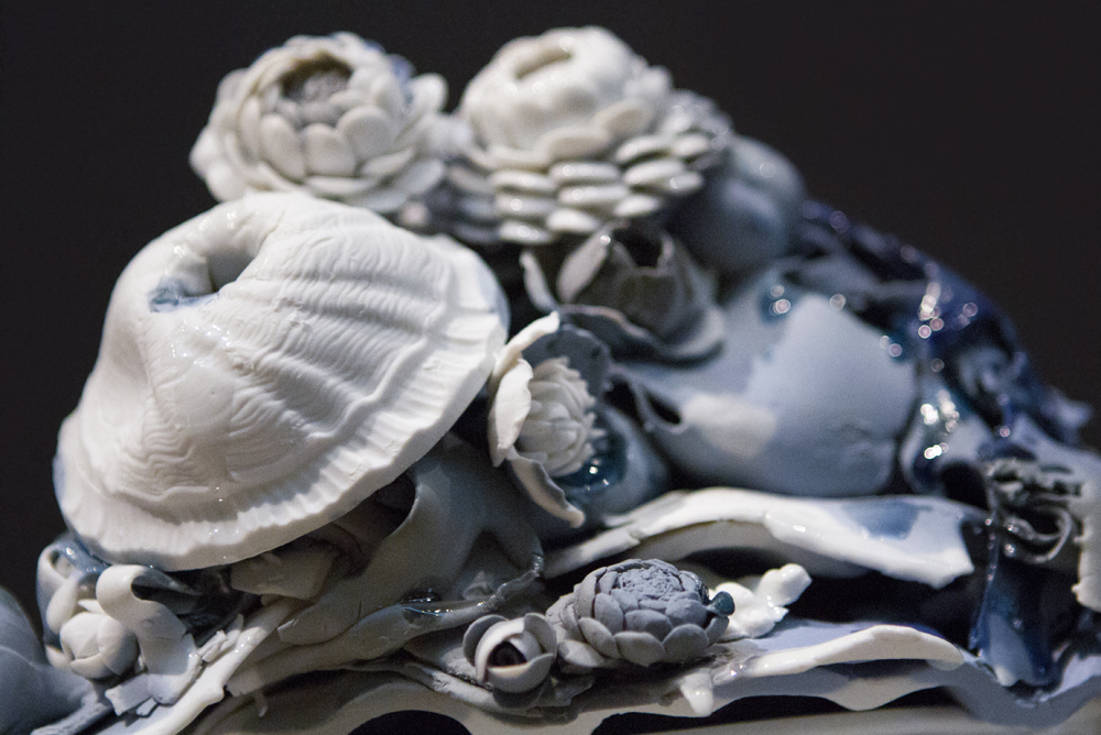 detail,  Overflow , 2012. Glazed Meissen Porcelain. 7 x 8.5 x 6.75 inches.