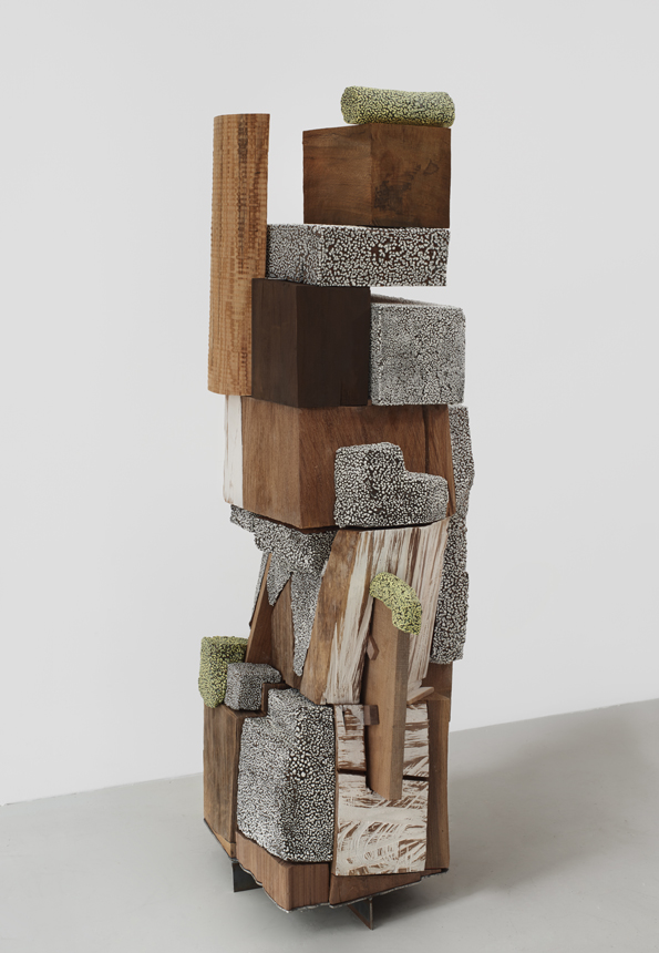 All in All, 2016. glazed ceramic, painted and carved hardwood, steel. 58 x 18.5 x 23 in.
