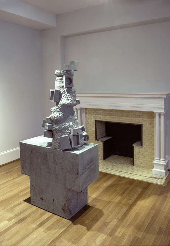 Arlene Shechet, The Possibility of Ghosts, 2013/2016. Glazed ceramic, cast concrete. 47 x 21.5 x 17 inches.