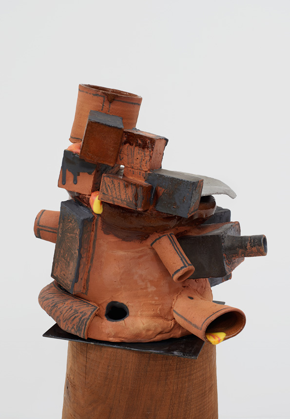 Arlene Shechet, detail, Tumbling Through Time, 2016. Glazed ceramic, hardwood, aluminum, steel. 35 x 18 x 17 inches.
