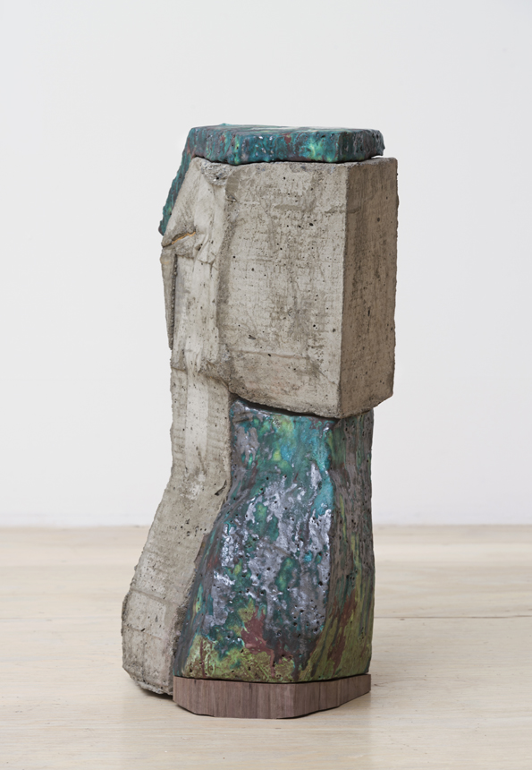 Then That Way, 2016. Glazed ceramic, hardwood,  cast concrete. 22.75 x 11 x 9.5 in.