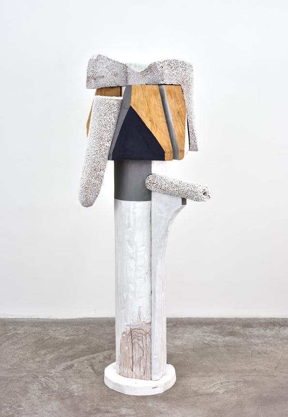 Like Kali , 2018. glazed ceramic, hardwood, paint. 53 x 28 x 19 inches.