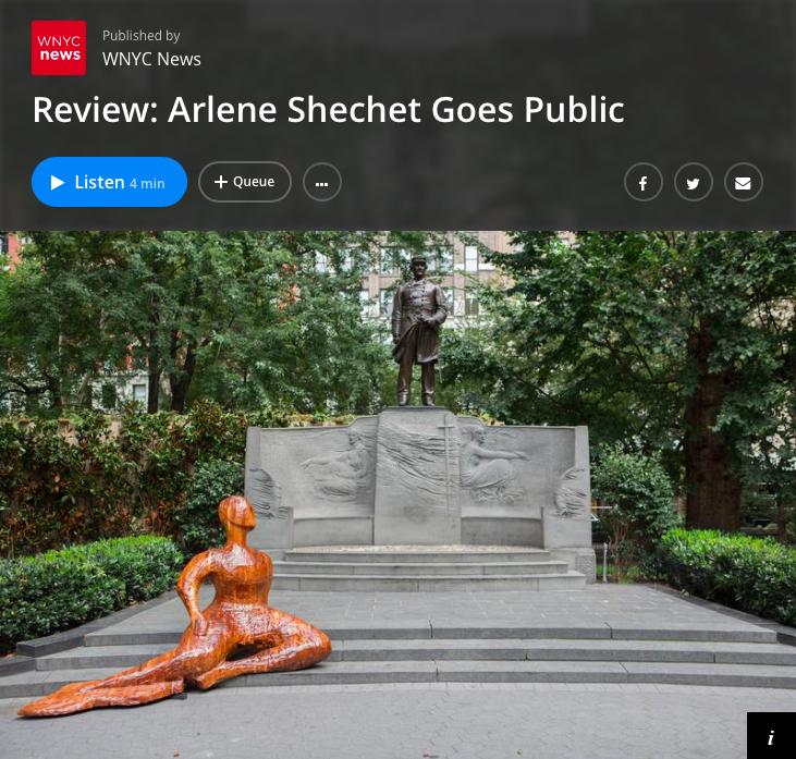 WNYC : Arlene Shechet Goes Public