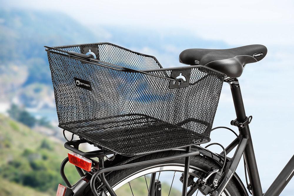 Das Ergebnis - Fahrradkorb vor neuem Hintergrund