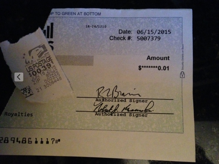 1 cent royalty check with 39 cent stamp LOL!