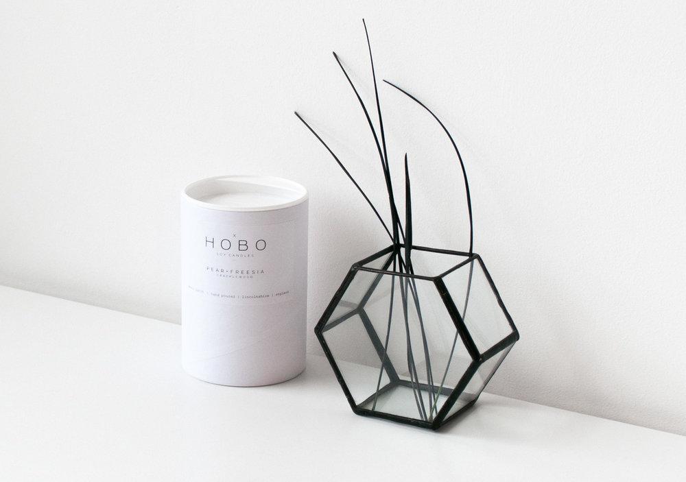 Pear & Freesia Soy Candle Varro Hexagon Glass Display Box