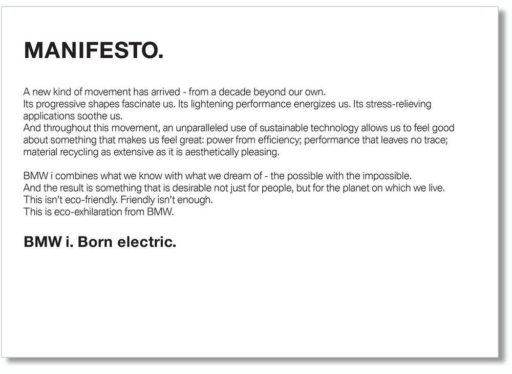 INTERNAL – BMW i MANIFESTO