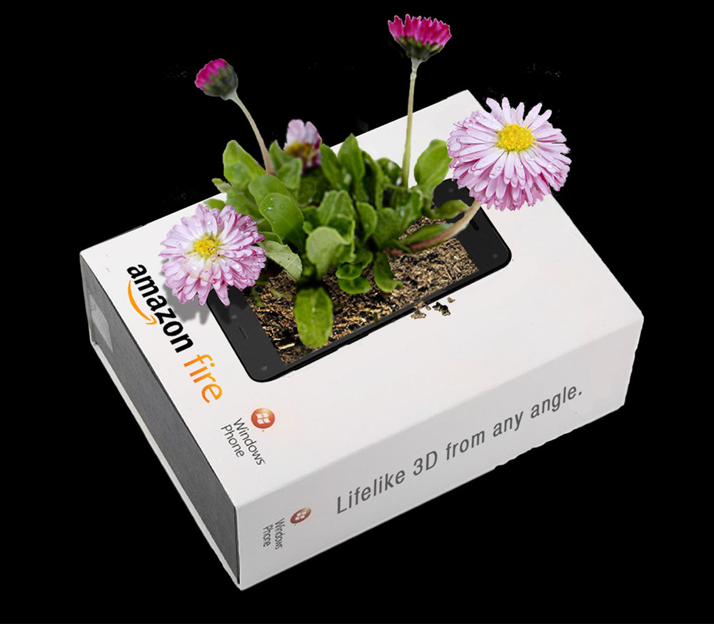 """INTEGRATED CONCEPT: """"LIVING ADS""""FOR AMAZON FIRE PHONE 3D Packs filled with soil and seeds and included as free gifts with amazon.com purchases. Flowers subsequently grow from the seeds in customers' homes."""