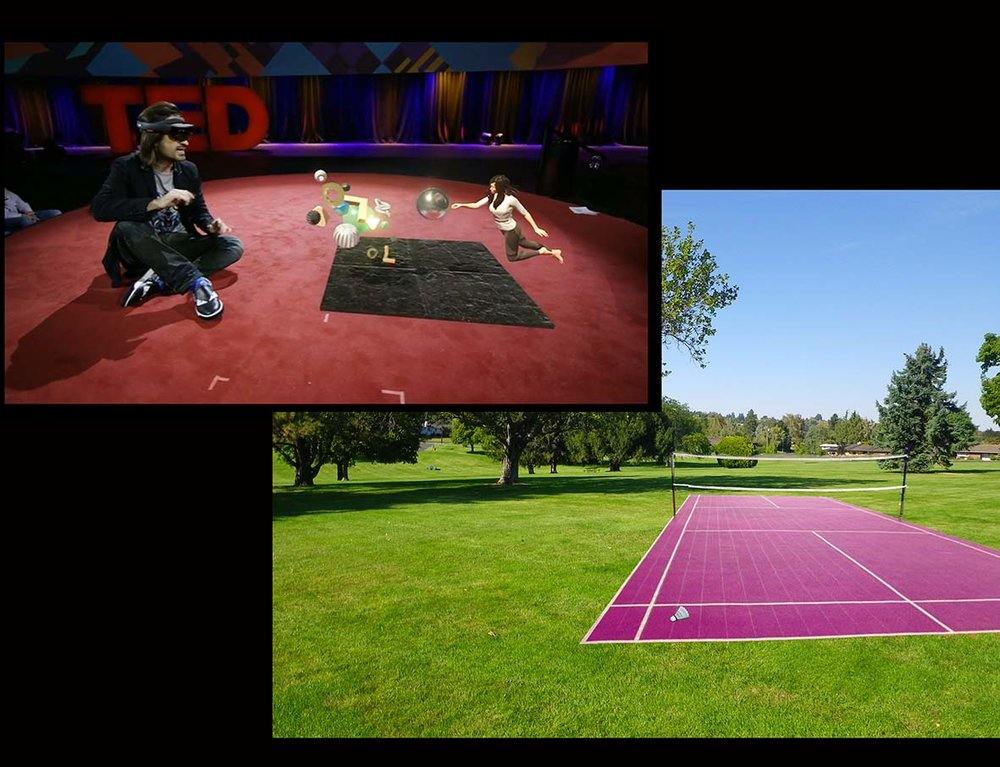 AN APP CONCEPT FOR MICROSOFT HOLOLENS: HOLOLENS SPORT The idea is for HoloLens to present holographic badminton, tennis, soccer and beach volleyball courts, as well as running tracks in Olympic stadiums. Users play with real rackets and balls, but without the need for courts, nets or running tracks. As HoloLens becomes increasingly lightweight in future, it will be suitable for such sports.