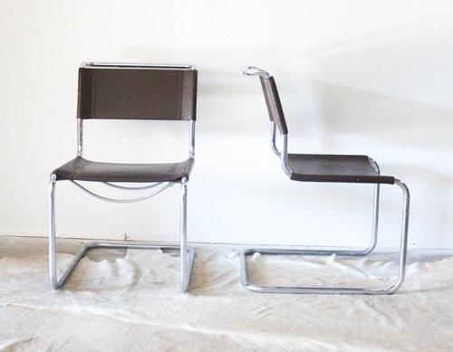 italian chrome and leather chairs 4 mm vintage
