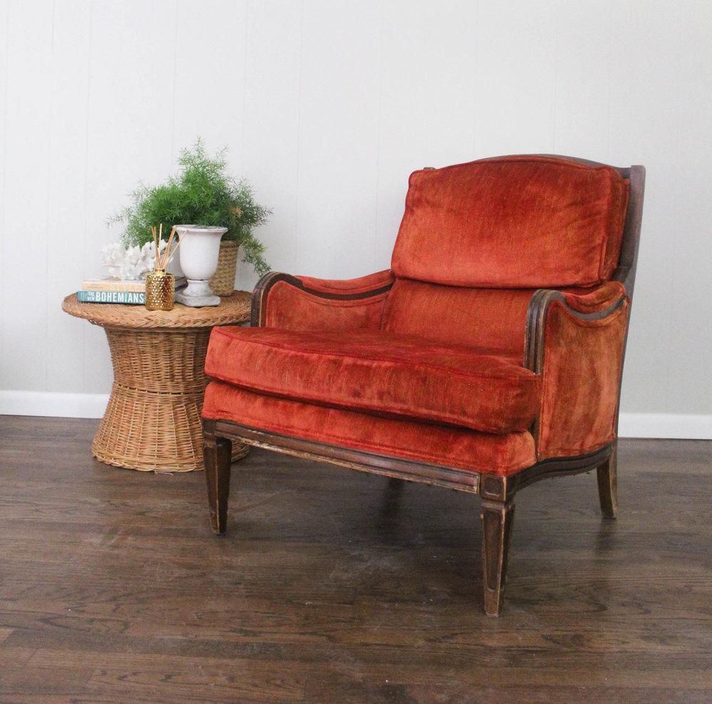 Antique Red Velvet Chair - Antique Red Velvet Chair — MM Vintage