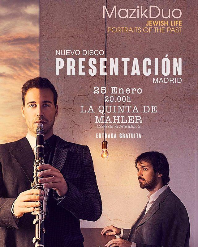 Hoy presentamos disco en #Madrid! A las 20.00 en #laquintademahler. Entrada gratuita y 🍷 al finalizar! Ven a disfrutar de la #música #judía! #jewishlife #musician #album #music @tempsrecord