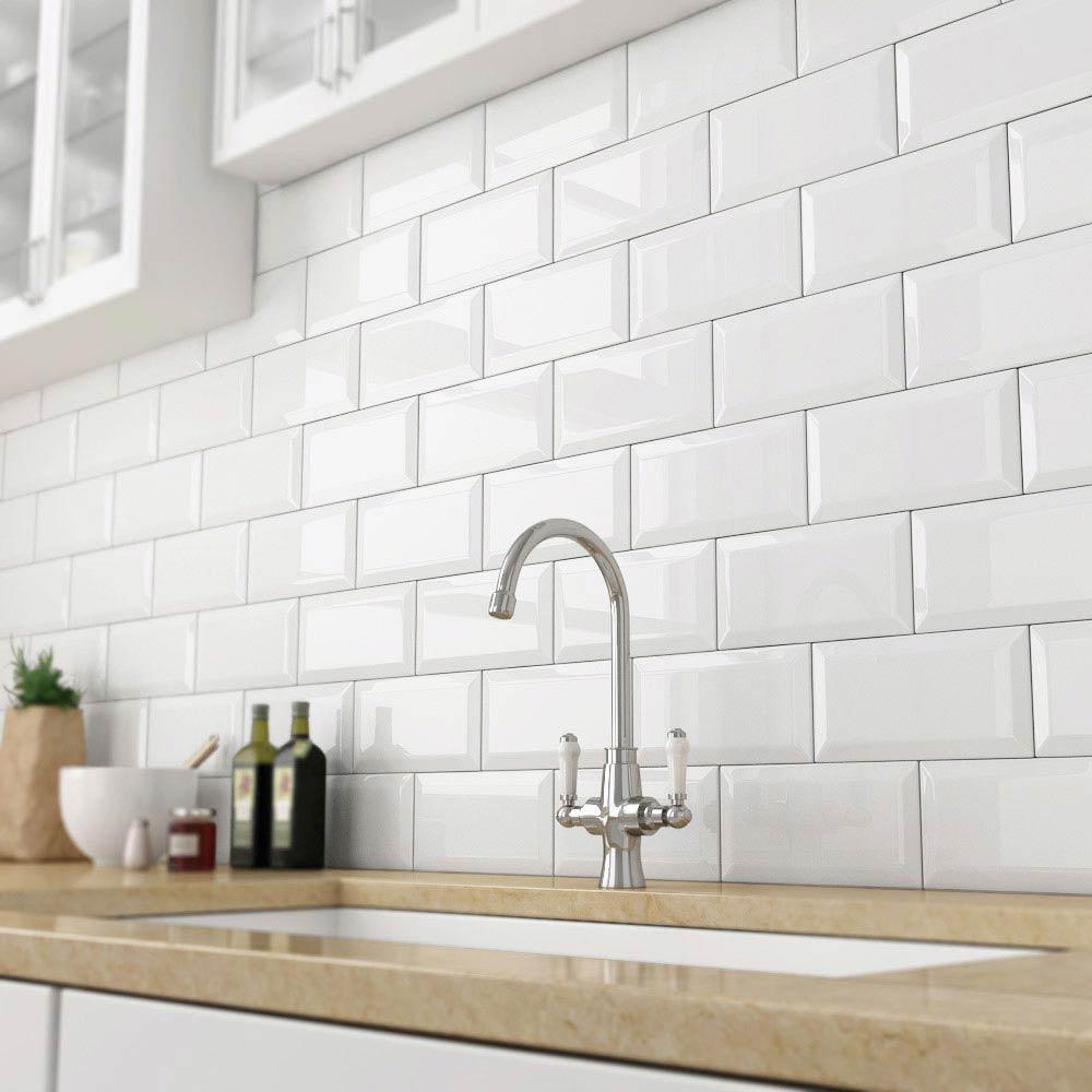 3 X 6 White Glossy Bevel Subway Tile Global Flooring Cabinet