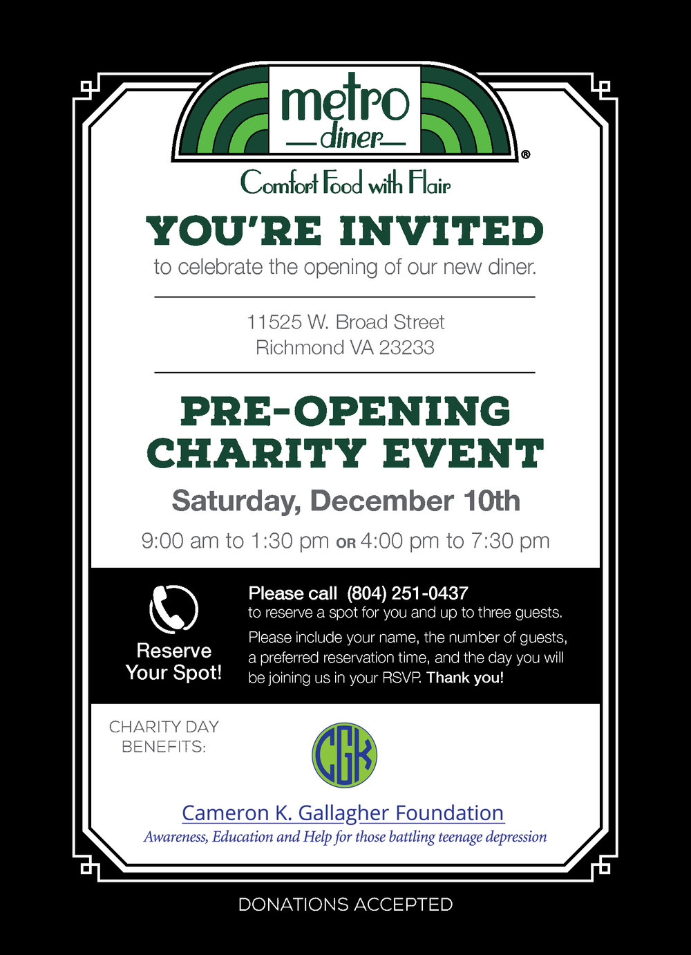 Metro Diner Charity Pre-Opening Event — CKG Foundation