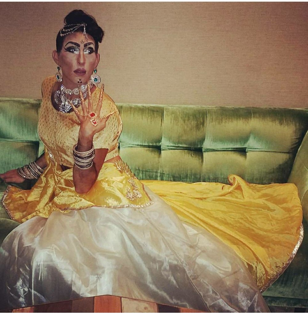 Lal Batti - is the reigning Bollywood drag queen, all the way from BK via Air India express. She is a Bollywood princess/courtesan with Bollywood infused dance numbers, and a very sarcastic humor.