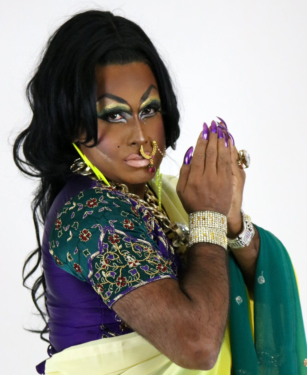 Lawhore Vagistan - is everyone's favorite desi drag auntie. She has performed at the Austin International Drag Festival, Queens Museum, Jack Theater, and Bronx Academy of Arts and Dance. Her films have been screened at the Mississauga South Asian Film Festival, Austin OUTsider multi-arts festival, Hyderabad Queer Film Festival, and San Francisco 3rd i film festival.