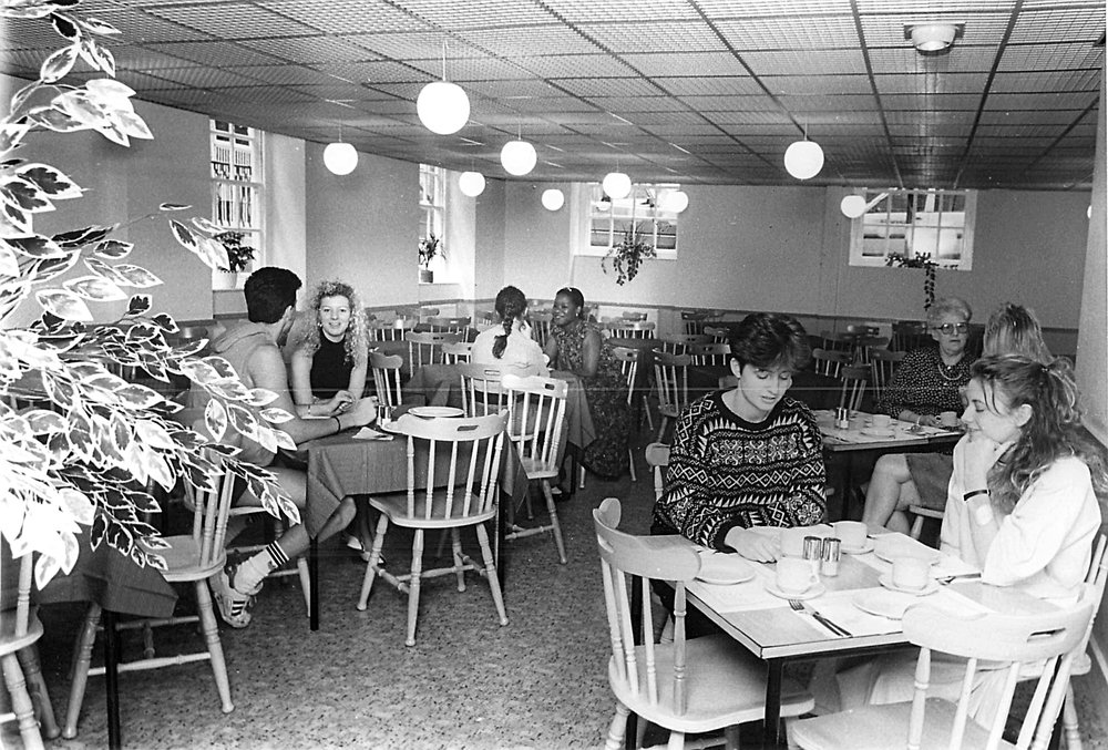 """A view of the new coffee shop - opened August 1988"""