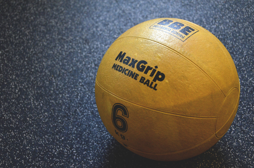 yellow medicine ball for joint exercise
