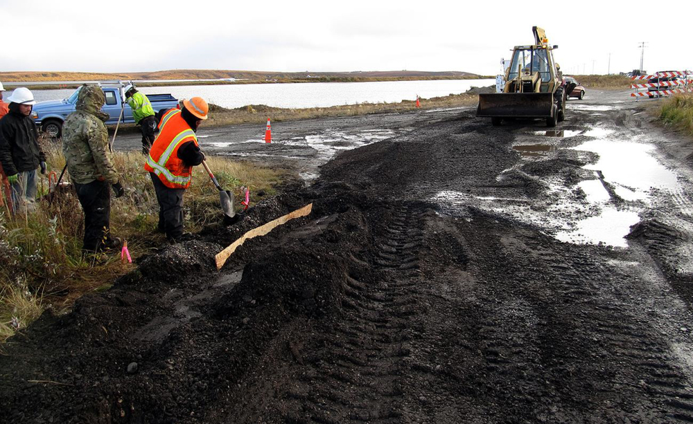 Fiber trenching with archaeological monitor in Kotzebue (Aug 2015)