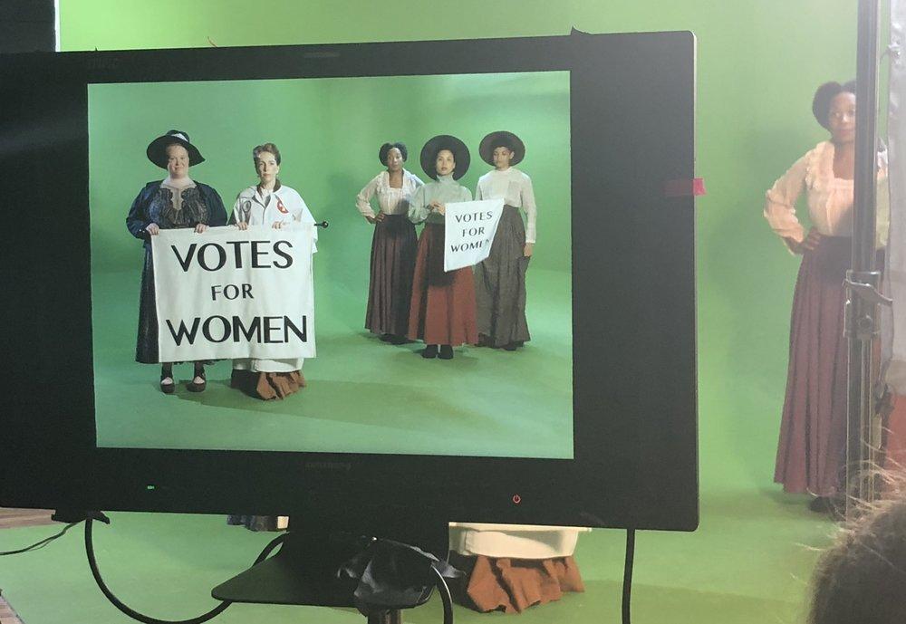 Filming  Beckys Through History . L-R: Jen Ponton, Eevin Hartsough,Malikha Mallet, Michelle Vo,Kathiamarice Lopez.
