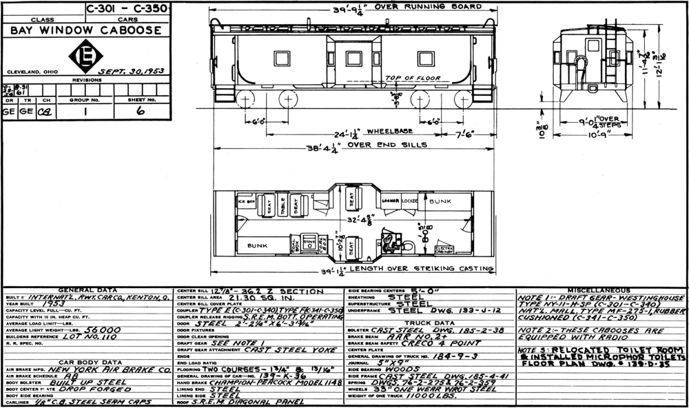 Floor plan of Erie's bay window cabooses while in service on the Erie Lackawanna. (Bob Bahrs collection)