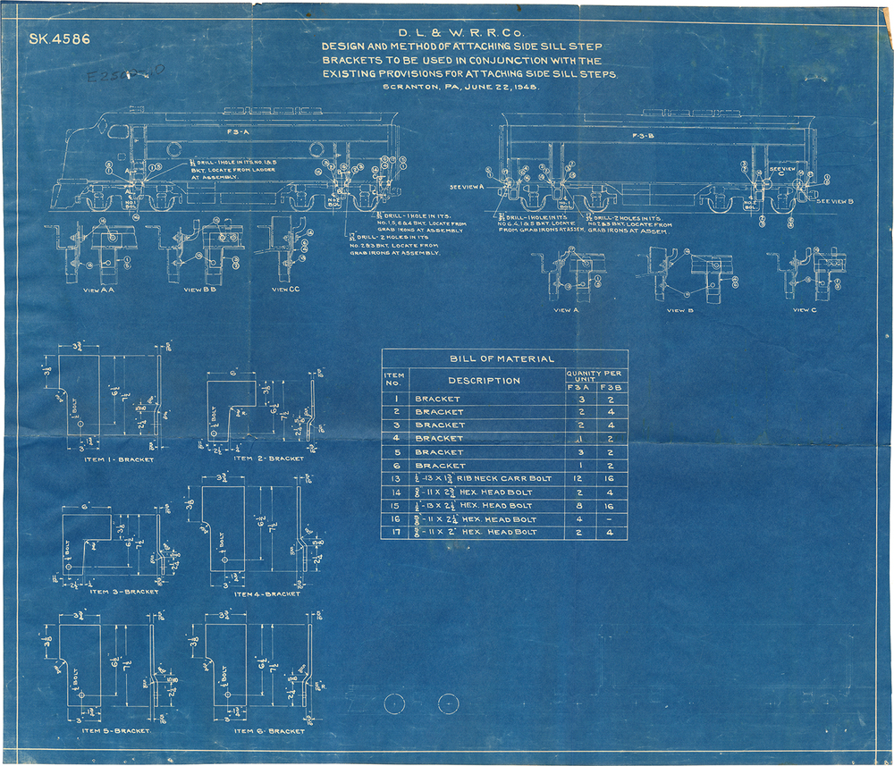 DL&W diagram from June 22, 1948 illustrating the application of steps on an F3 locomotive - one of hundreds of drawings that applied to the individual parts of this locomotive. (Matt Phalon collection)