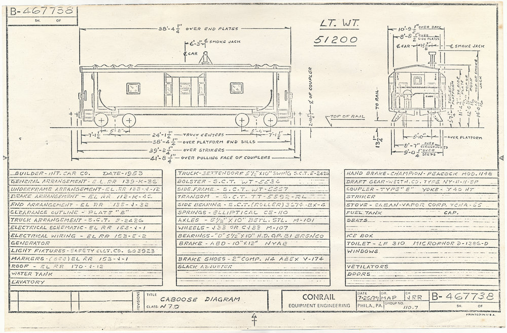 This July 26, 1979 diagram shows the Conrail N7D class of cabooses, of which Erie No. C330 (Conrail No. 21141) was a member. (Collection of The Conrail Historical Society - www.TheCRHS.org)