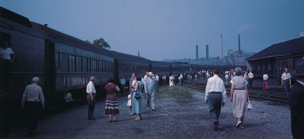 Two of Erie #2204's sister cars are near the head end of a June 24, 1951 excursion in Scranton, PA. (Robert F. Collins photo, courtesy Morning Sun Books – Erie Railroad Trackside with Robert F. Collins, page 94)