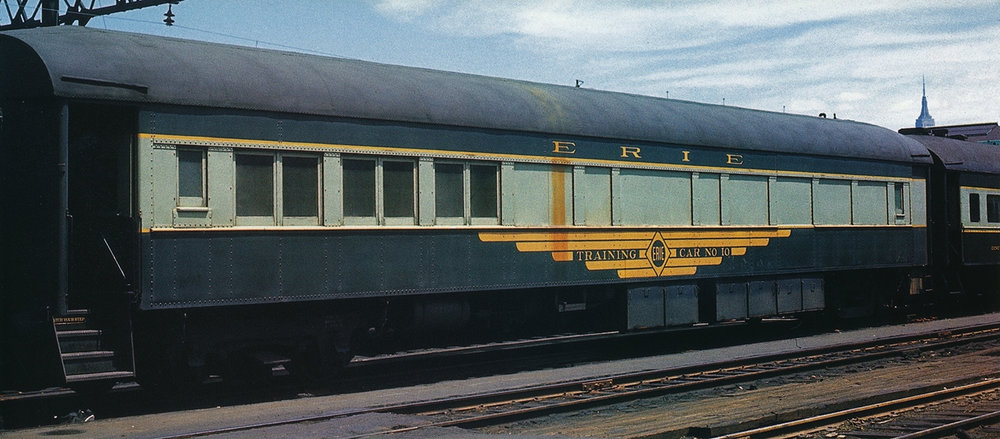 After the 1960 Erie Lackawanna merger, Erie #10 made its way to the former Lackawanna passenger terminal in Hoboken, NJ, where it is viewed on June 11, 1966.  (George Berisso photo, courtesy Morning Sun Books –  Erie/DL& W Color Guide to Freight and Passenger Equipment , page 61)
