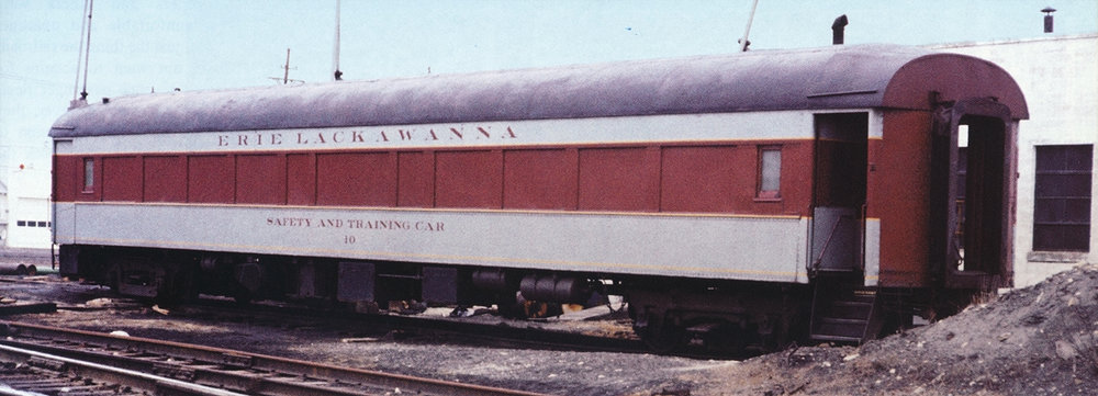 Out touring the Erie Lackawanna system, training car #10 is viewed in Huntington, IN in 1970.  (Larry DeYoung photo, courtesy Morning Sun Books –  EL Color Guide to Freight and Passenger Equipment , page 117)
