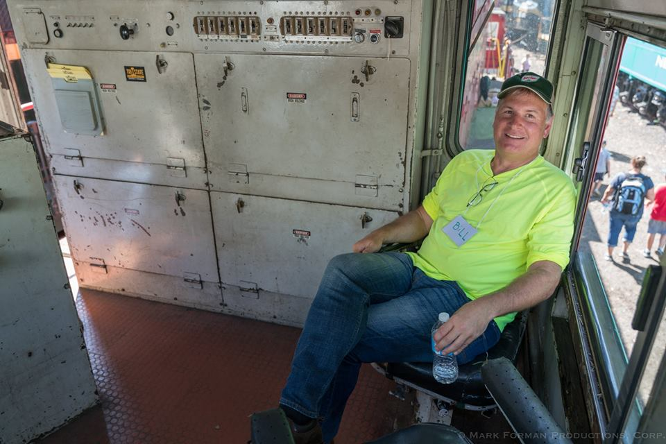 Volunteer Bill Bossert holding down the fort in M&E 19. Photo by Mark Forman