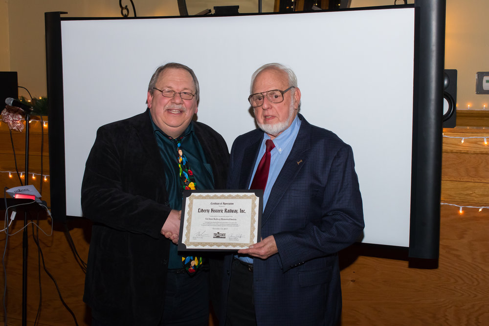 Member William McKelvey receives a donor Certificate of Appreciation on behalf of Liberty Historic Railway