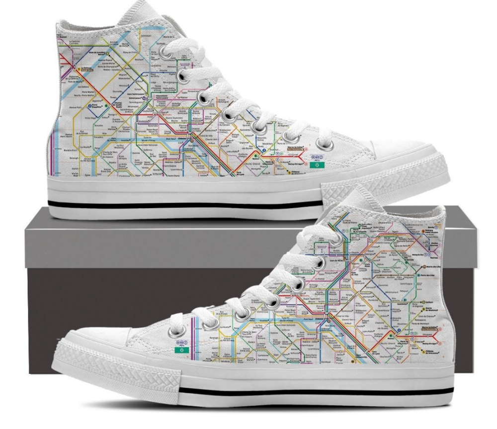 These are just cool. If you're a minimalist who want's to rise to the occasion for colorful festivities then look no further. These high tops have the metro map of Paris printed on them, call me touristy, but I'm sold! Find these and other metro prints at Wanderlustique.com