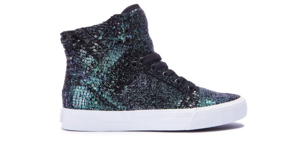 I love Supra, I have a bunch of skate shoes from them. I also love dark galactic aquatic vibes.. aaannd ohkay, fine, glitter is my favorite thing to stare at online. These shoes are my favorite, and they're only $100.00. You're literally going to be a galaxy queen with these. Heck, I think I just convinced myself to get them as well. Buy them at Supra.com