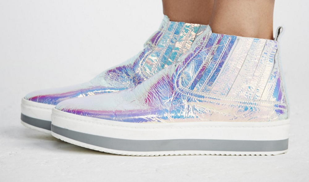 I have real thing for the throw back meet's another world. If you want a little height with you're high top's without sacrificing style-plus collecting up compliments left in right. Get.These. Be the futuristic Dancing Queen that you are. You can find The Williamsburg Sneaker at Freepeople.com