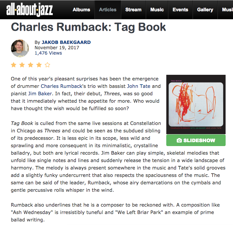 Charles Rumback S Tag Book Allaboutjazz Review Ears Eyes Records