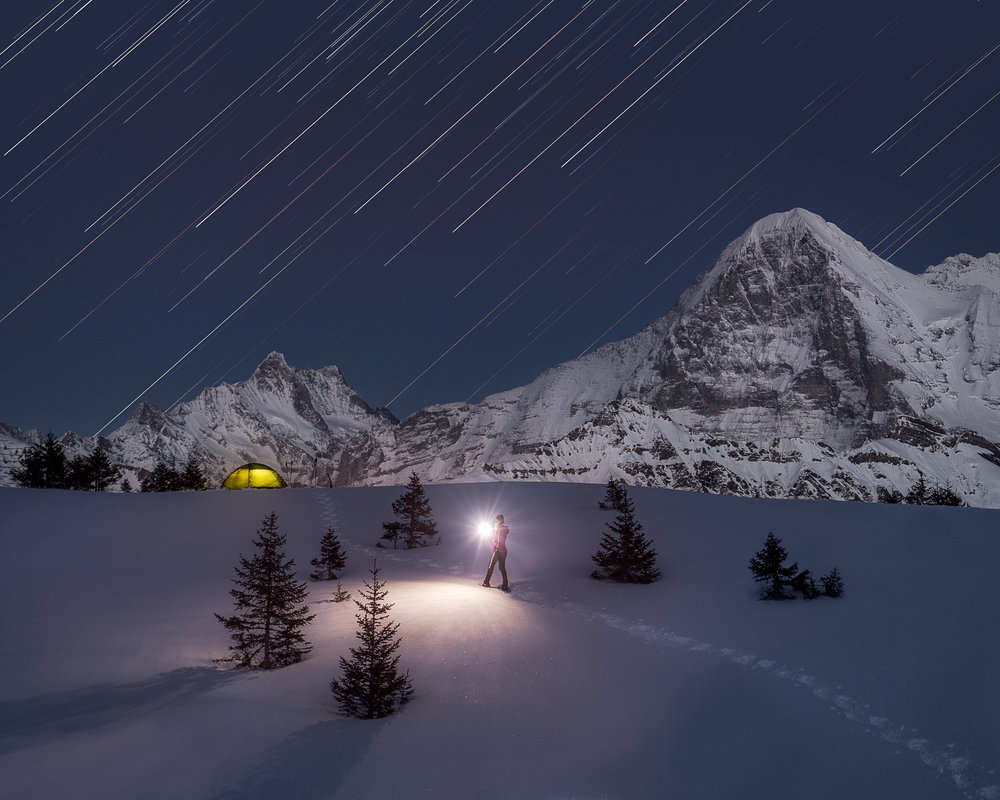 Startrails over the bernese alps