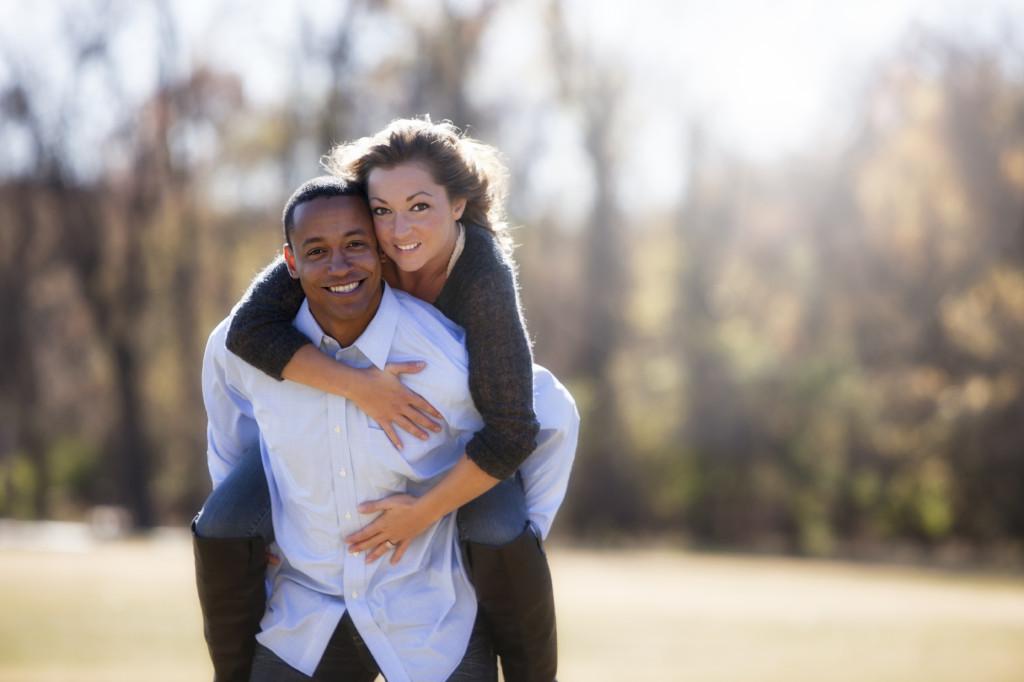 Couple in Love Piggyback Park Autumn