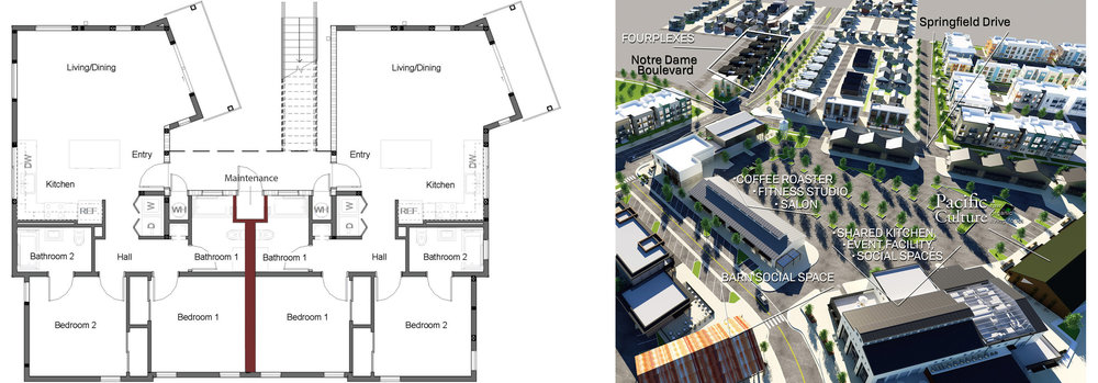 Here we show the Fourplex Floorplans, two identical units on each floor. Also, an aerial view of Fourplex apartments (top left) and their location relative to the Tank District and featured spaces.